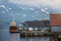 Seyðisfjörður,  la zone portuaire industrielle, 1981